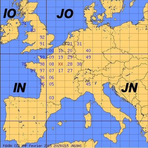 Carte des carrés locators de F6KRK  - CCD 144MHz 15 Février 2015
