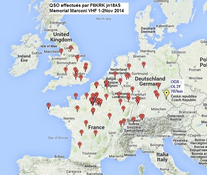 QSO effectués par F6KRK Marconi VHF 2014